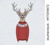 deer dressed up in jacquard... | Shutterstock .eps vector #497354872