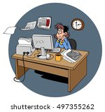 cartoon woman tired at work in... | Shutterstock . vector #497355262