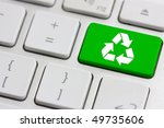 Green Recycle Button On A...