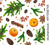 watercolor christmas pattern... | Shutterstock . vector #497358745