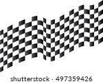 checkered flag flying on white... | Shutterstock .eps vector #497359426