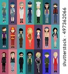set of people  | Shutterstock .eps vector #497362066