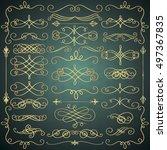 set of hand drawn golden luxury ... | Shutterstock .eps vector #497367835