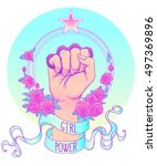 girl power. woman's hand with...   Shutterstock .eps vector #497369896
