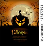 halloween background with scary ... | Shutterstock .eps vector #497377936