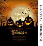 halloween background with scary ... | Shutterstock .eps vector #497377945