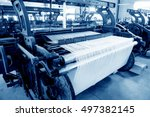 a row of textile looms weaving... | Shutterstock . vector #497382145