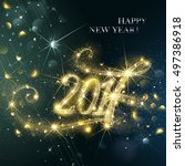 new year fireworks and confetti ... | Shutterstock .eps vector #497386918