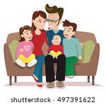 young family on sofa. | Shutterstock .eps vector #497391622