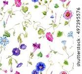 cute watercolor flowers... | Shutterstock . vector #497395576