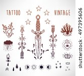 vector vintage style tattoo set ... | Shutterstock .eps vector #497395606