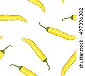 seamless pattern yellow chilli... | Shutterstock .eps vector #497396302