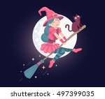 Vector colorful halloween illustration of witch character with hat, black cat flying on a broomstick on the moon night background. Flat style design for halloween greeting card, poster, banner, web