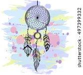 hand drawn ethnic talisman.... | Shutterstock .eps vector #497399332