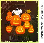 october 31. halloween banner.... | Shutterstock .eps vector #497401342