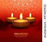 abstarct happy diwali background | Shutterstock .eps vector #497405932