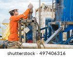 offshore oil rig worker prepare ... | Shutterstock . vector #497406316