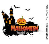 happy halloween poster  night... | Shutterstock .eps vector #497407402