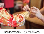 golden bracelet as a blessing... | Shutterstock . vector #497408626
