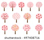 vector pink trees with flowers... | Shutterstock .eps vector #497408716