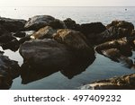 Large Rocks On Sea Shore