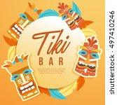 tiki tribal mask   hawaiian... | Shutterstock .eps vector #497410246