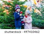 two little smiling kids  boy... | Shutterstock . vector #497410462