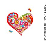 funny applique with floral... | Shutterstock .eps vector #497411392