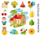 four seasons icon set. seasonal ... | Shutterstock .eps vector #497412706