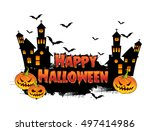 happy halloween poster  night... | Shutterstock .eps vector #497414986