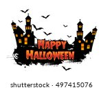 happy halloween poster  night... | Shutterstock .eps vector #497415076