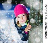 winter   cute little girl... | Shutterstock . vector #497418022