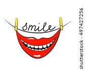 smile. inspirational quote... | Shutterstock .eps vector #497427256