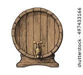 wooden barrel with tap  sketch...   Shutterstock .eps vector #497433166