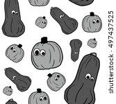 vector outline pumpkins... | Shutterstock .eps vector #497437525