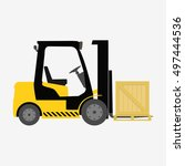 forklift truck with box... | Shutterstock .eps vector #497444536