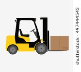 forklift truck with box... | Shutterstock .eps vector #497444542