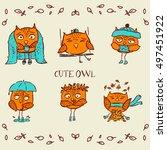 orange autumn owl. cute hand... | Shutterstock .eps vector #497451922