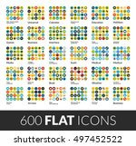 large icons set  600 flat color ... | Shutterstock .eps vector #497452522