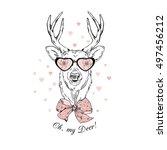 Fashion Portrait Of Deer  Hand...