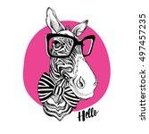 zebra portrait in a striped tie ... | Shutterstock .eps vector #497457235