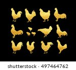set of vector golden rooster on ... | Shutterstock .eps vector #497464762