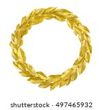 round wreath from golden leaves ... | Shutterstock . vector #497465932