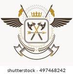 heraldic coat of arms  vintage... | Shutterstock .eps vector #497468242
