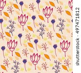 autumn seamless floral pattern. ... | Shutterstock .eps vector #497471812
