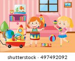 two girls playing in living... | Shutterstock .eps vector #497492092