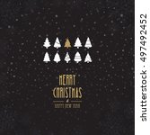 merry christmas tree card | Shutterstock .eps vector #497492452