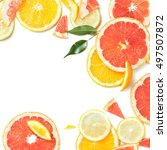 close up of fresh citrus slices ... | Shutterstock . vector #497507872