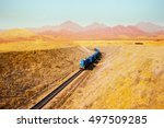 train move by desert and... | Shutterstock . vector #497509285