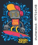 vector retro robot on surfboard ... | Shutterstock .eps vector #497514148